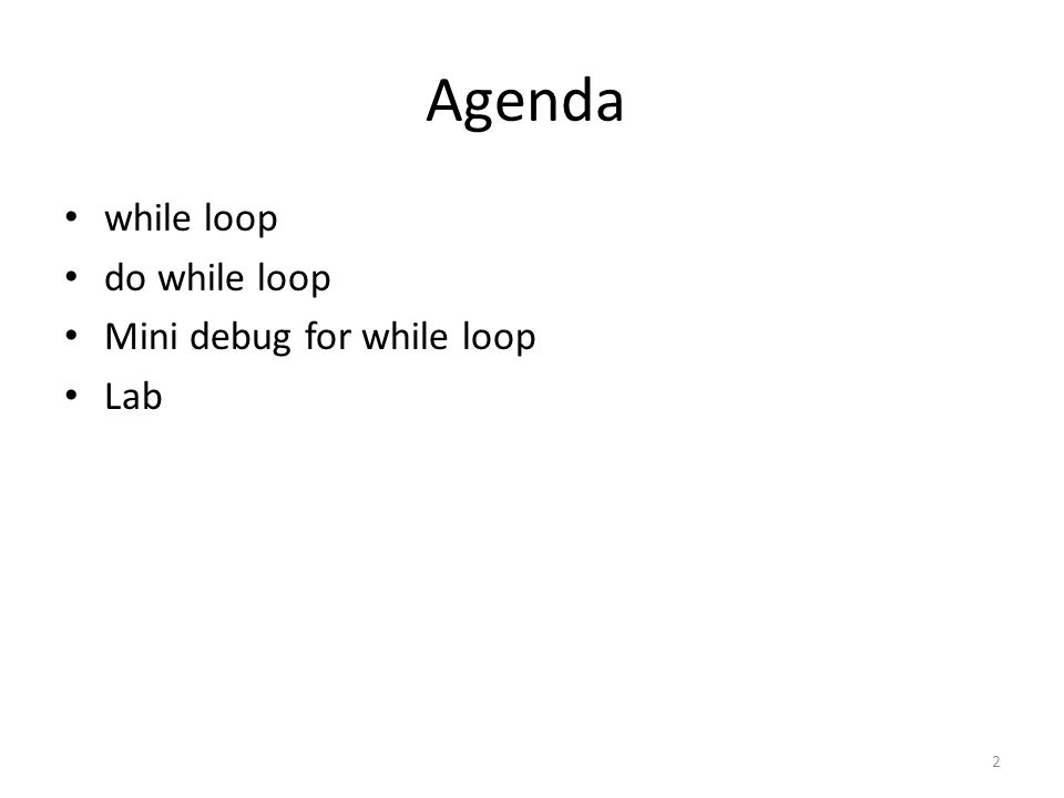 Agenda while loop do while loop Mini debug for while loop Lab
