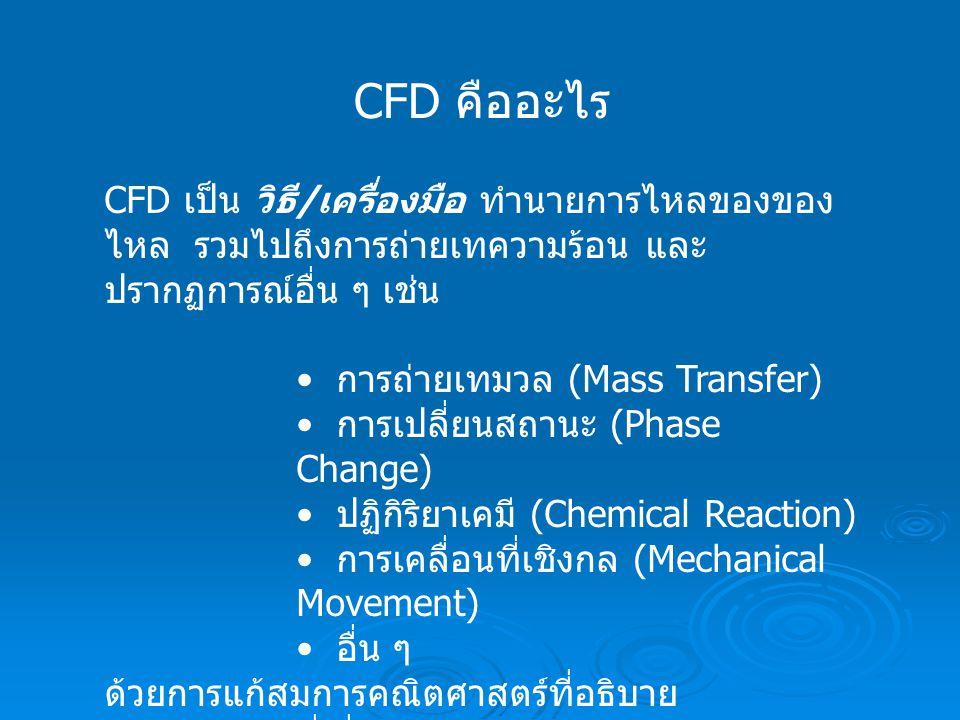 CFD คืออะไร CFD เป็น วิธี/เครื่องมือ ทำนายการไหลของของไหล รวมไปถึงการถ่ายเทความร้อน และ ปรากฏการณ์อื่น ๆ เช่น.