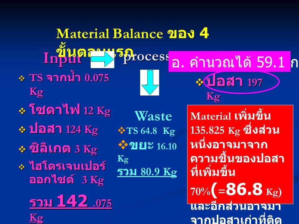 Input Material Balance ของ 4 ขั้นตอนแรก process