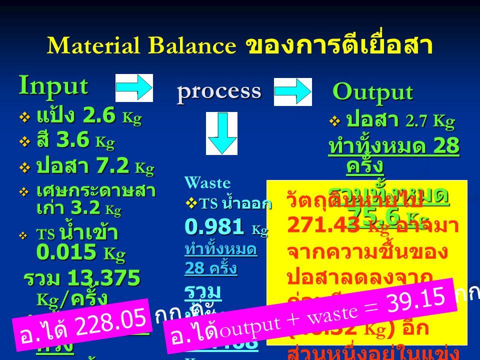 Material Balance ของการตีเยื่อสา