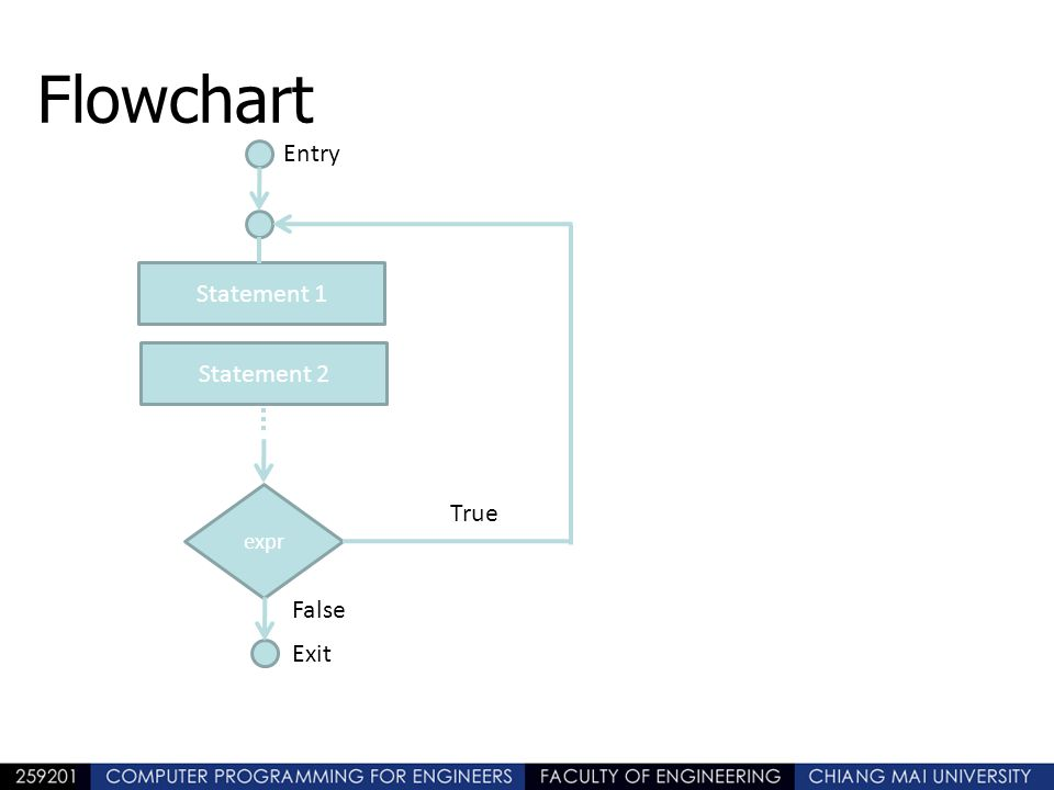 Flowchart Entry Statement 1 Statement 2 True False Exit expr
