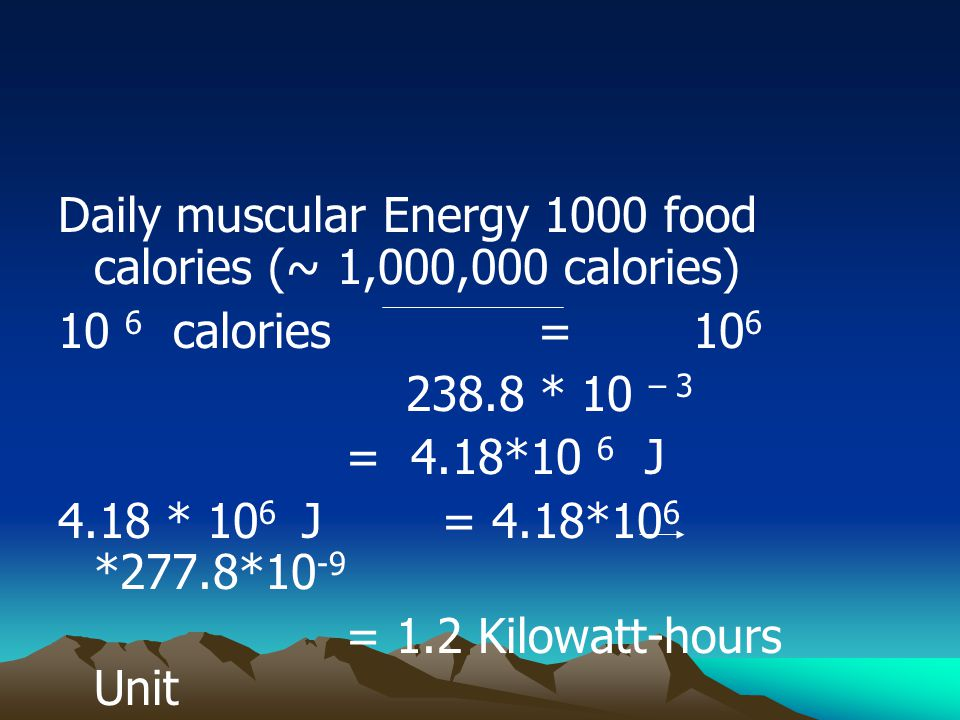 Daily muscular Energy 1000 food calories (~ 1,000,000 calories)