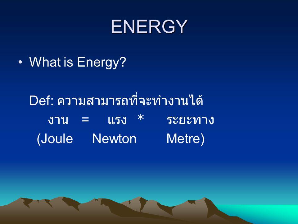 ENERGY What is Energy Def: ความสามารถที่จะทำงานได้
