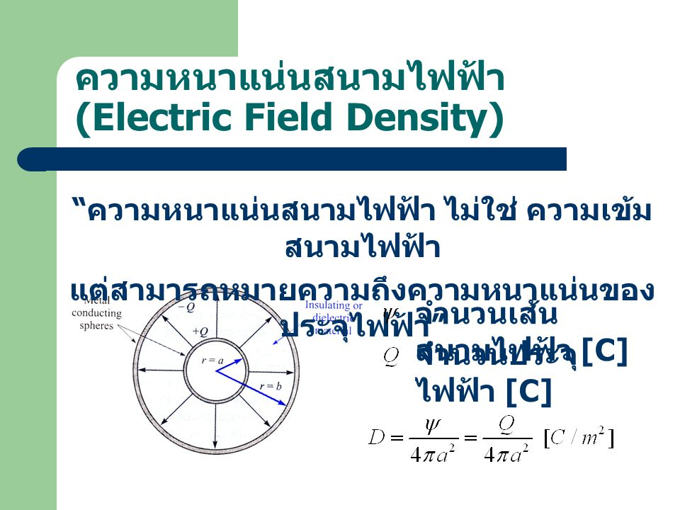 ความหนาแน่นสนามไฟฟ้า (Electric Field Density)