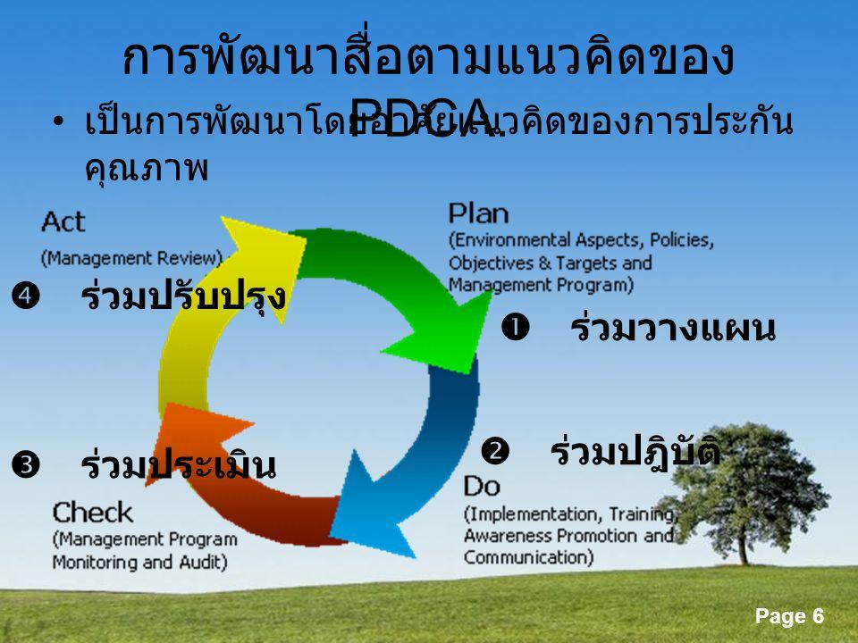 การพัฒนาสื่อตามแนวคิดของ PDCA.