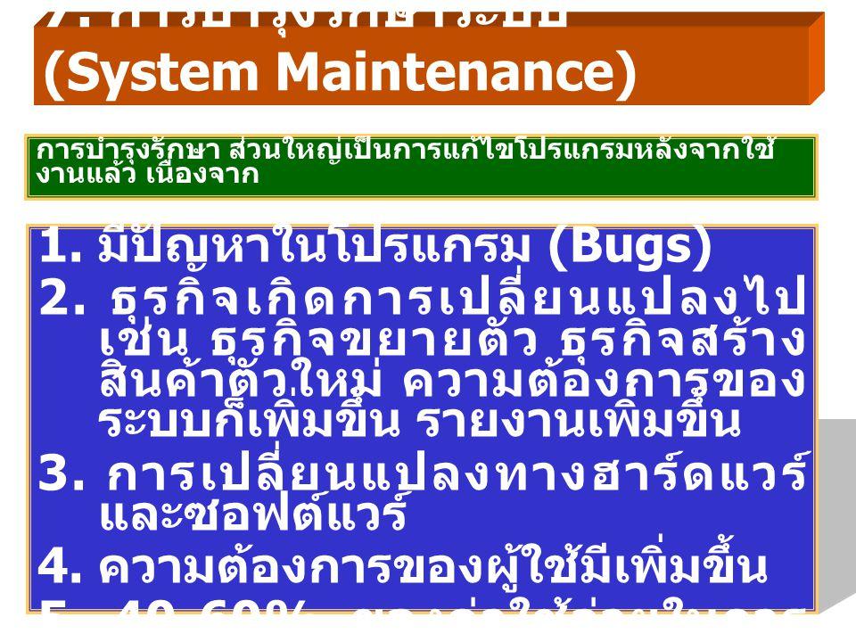7. การบำรุงรักษาระบบ (System Maintenance)