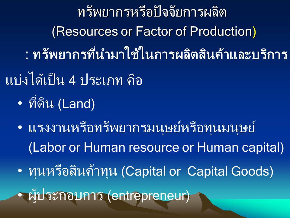ทรัพยากรหรือปัจจัยการผลิต (Resources or Factor of Production)