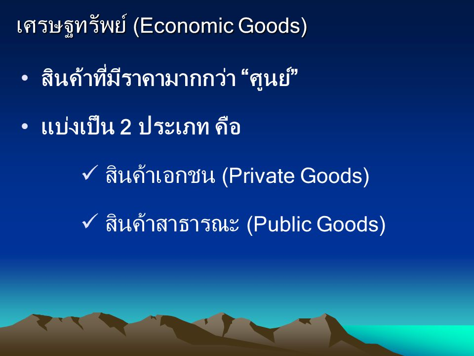 เศรษฐทรัพย์ (Economic Goods)