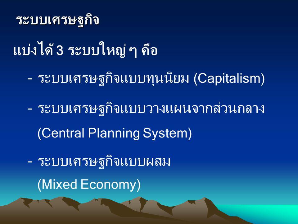 ระบบเศรษฐกิจ แบ่งได้ 3 ระบบใหญ่ ๆ คือ. ระบบเศรษฐกิจแบบทุนนิยม (Capitalism) ระบบเศรษฐกิจแบบวางแผนจากส่วนกลาง (Central Planning System)