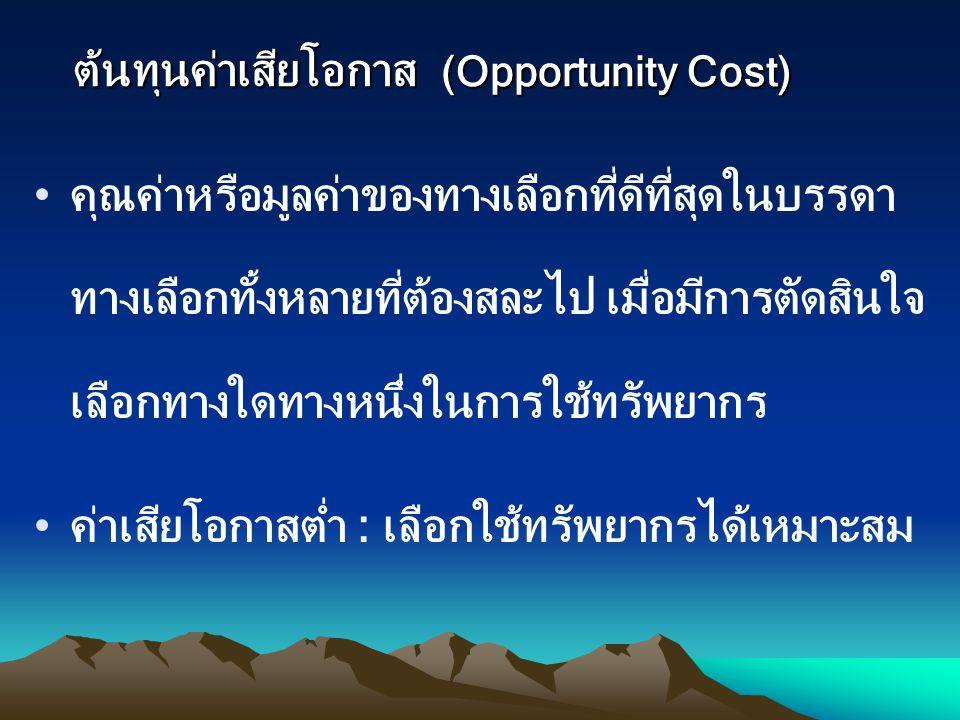 ต้นทุนค่าเสียโอกาส (Opportunity Cost)