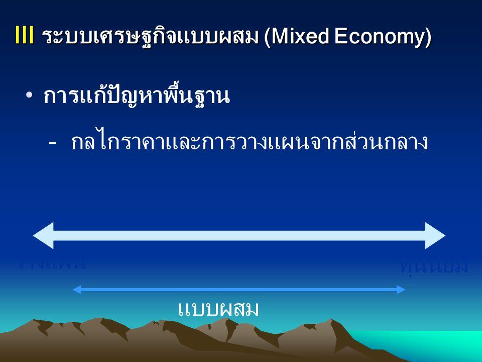 III ระบบเศรษฐกิจแบบผสม (Mixed Economy)