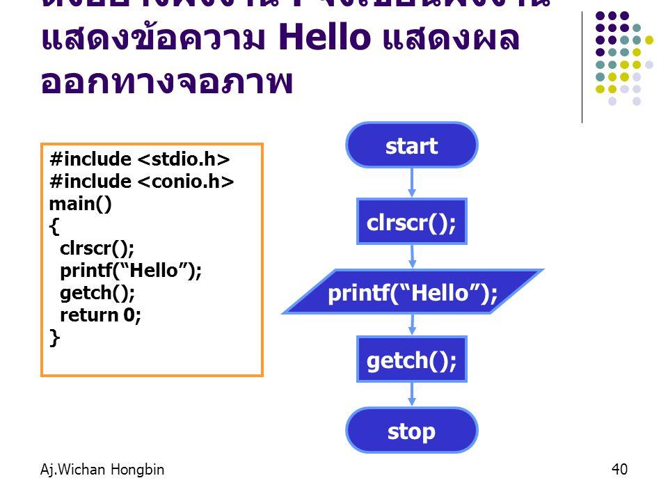 ตังอย่างผังงาน : จงเขียนผังงานแสดงข้อความ Hello แสดงผลออกทางจอภาพ