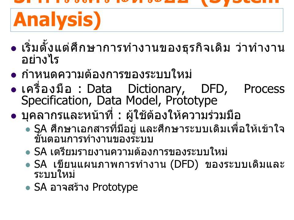 3. การวิเคราะห์ระบบ (System Analysis)