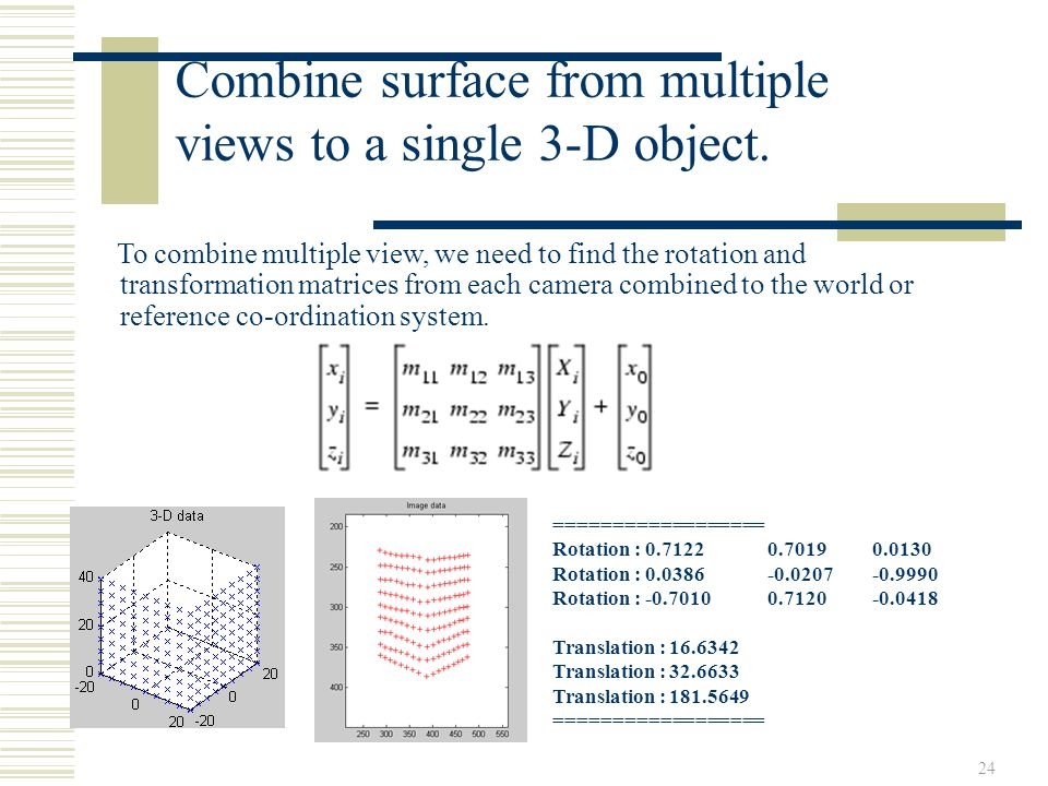 Combine surface from multiple views to a single 3-D object.