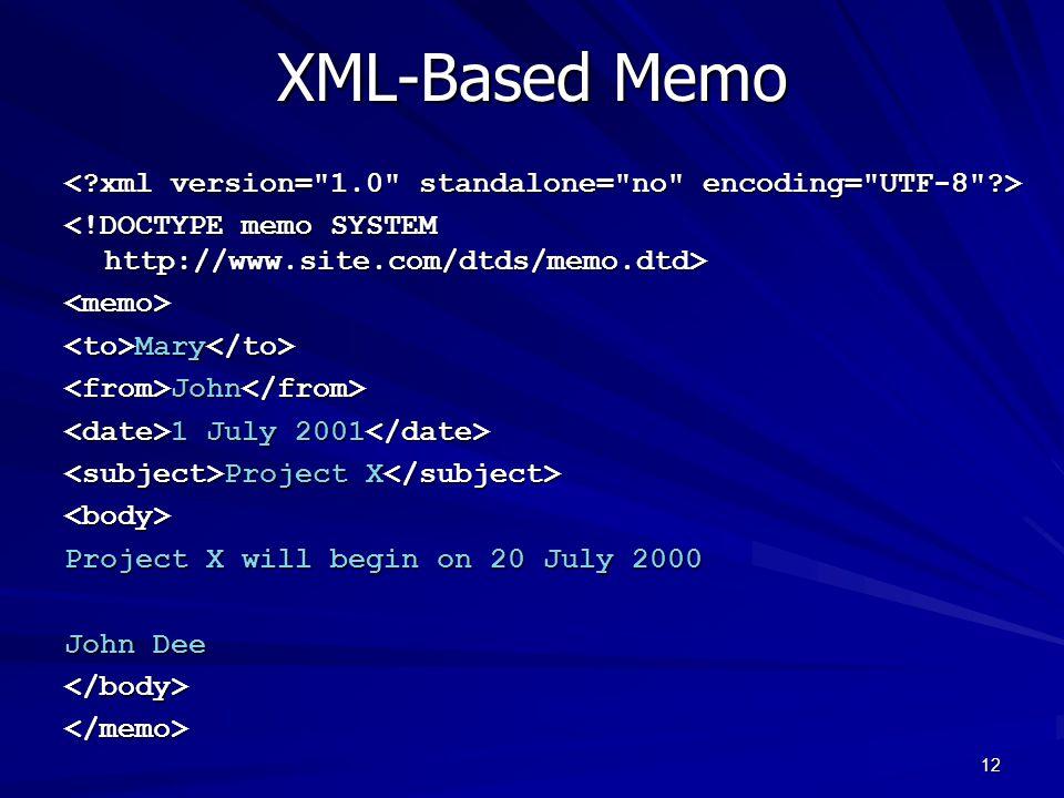 XML-Based Memo < xml version= 1.0 standalone= no encoding= UTF-8 > <!DOCTYPE memo SYSTEM http://www.site.com/dtds/memo.dtd>