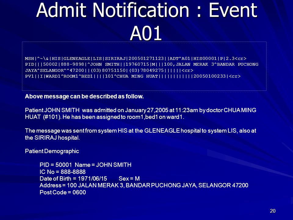 Admit Notification : Event A01