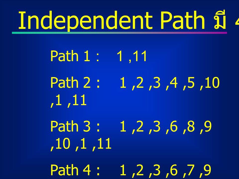 Independent Path มี 4 Path