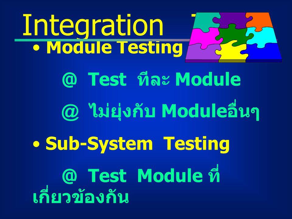 Integration Test Module Testing @ Test ทีละ Module