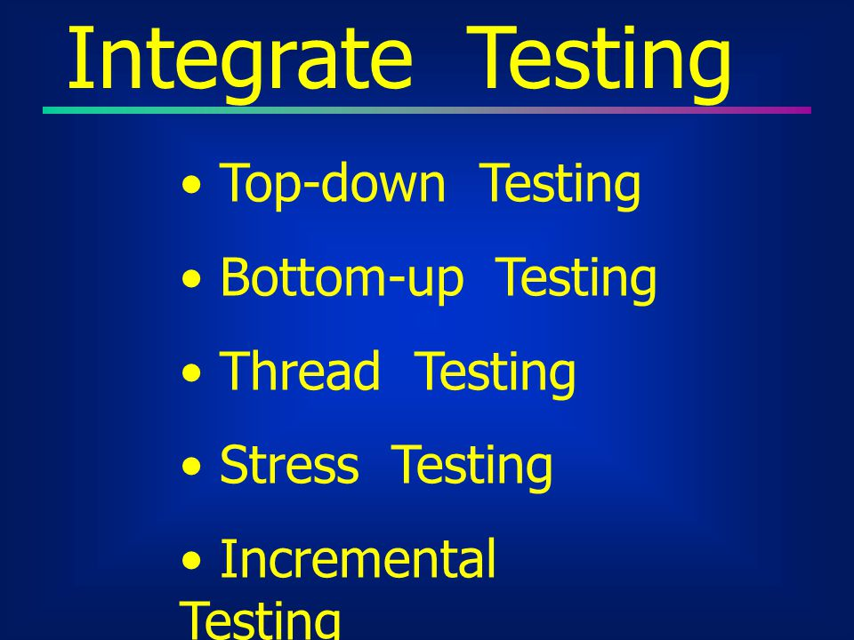 Integrate Testing Top-down Testing Bottom-up Testing Thread Testing
