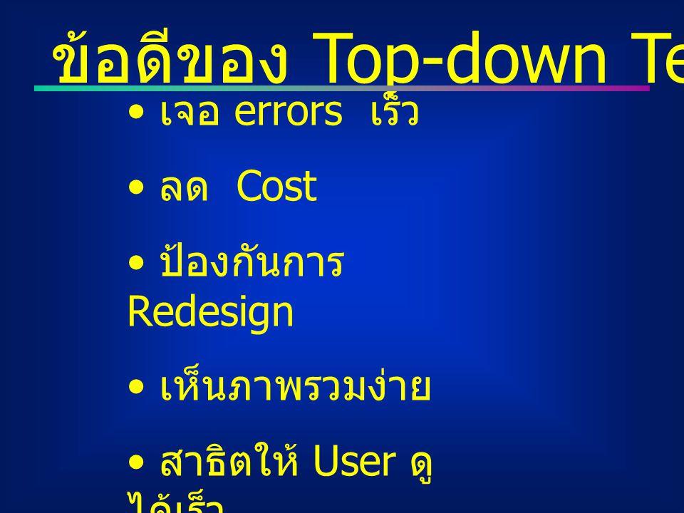 ข้อดีของ Top-down Testing