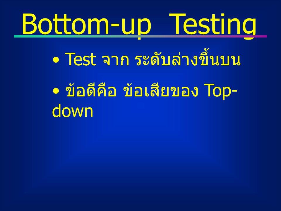 Bottom-up Testing Test จาก ระดับล่างขึ้นบน