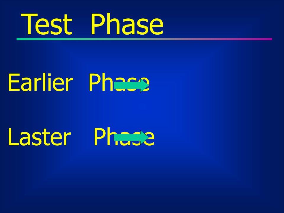 Test Phase Earlier Phase Program Defect Laster Phase V&V
