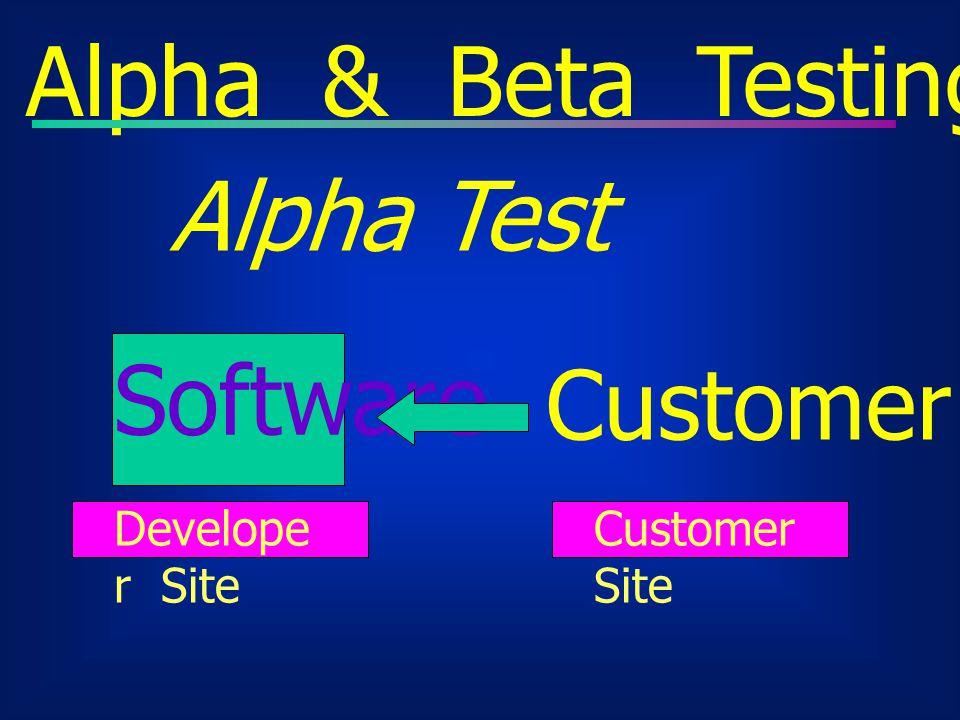 Alpha & Beta Testing Alpha Test Software Customer test Developer Site