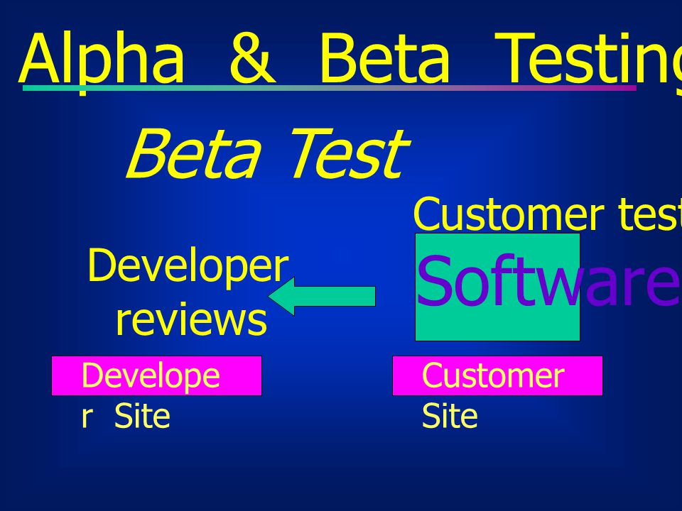 Alpha & Beta Testing Beta Test Software Customer test Developer
