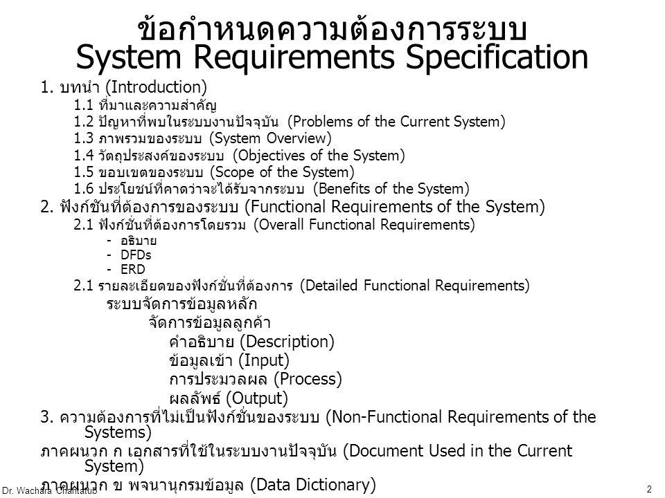ข้อกำหนดความต้องการระบบ System Requirements Specification