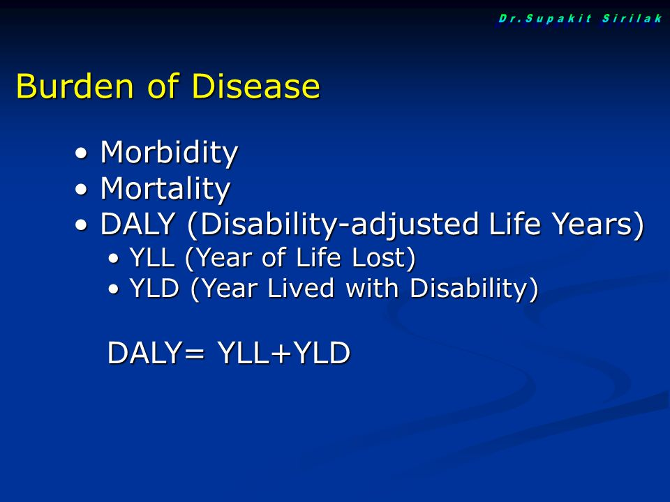 Dr.Supakit Sirilak Burden of Disease Morbidity Mortality