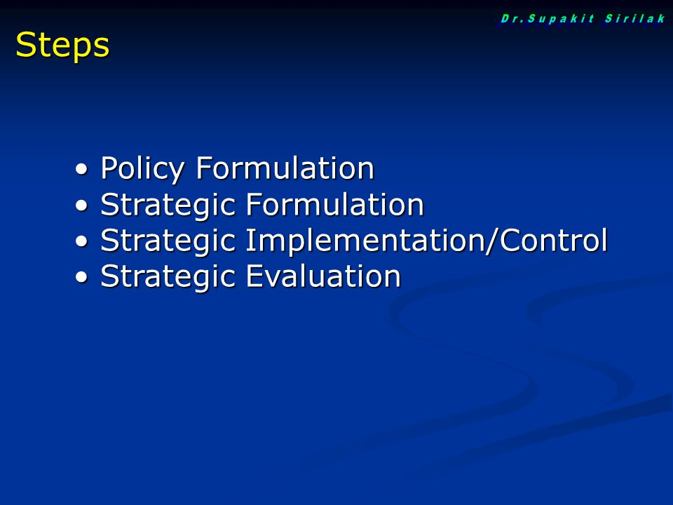 Dr.Supakit Sirilak Steps Policy Formulation Strategic Formulation