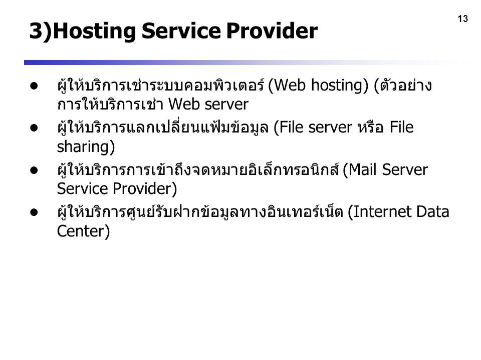 3)Hosting Service Provider
