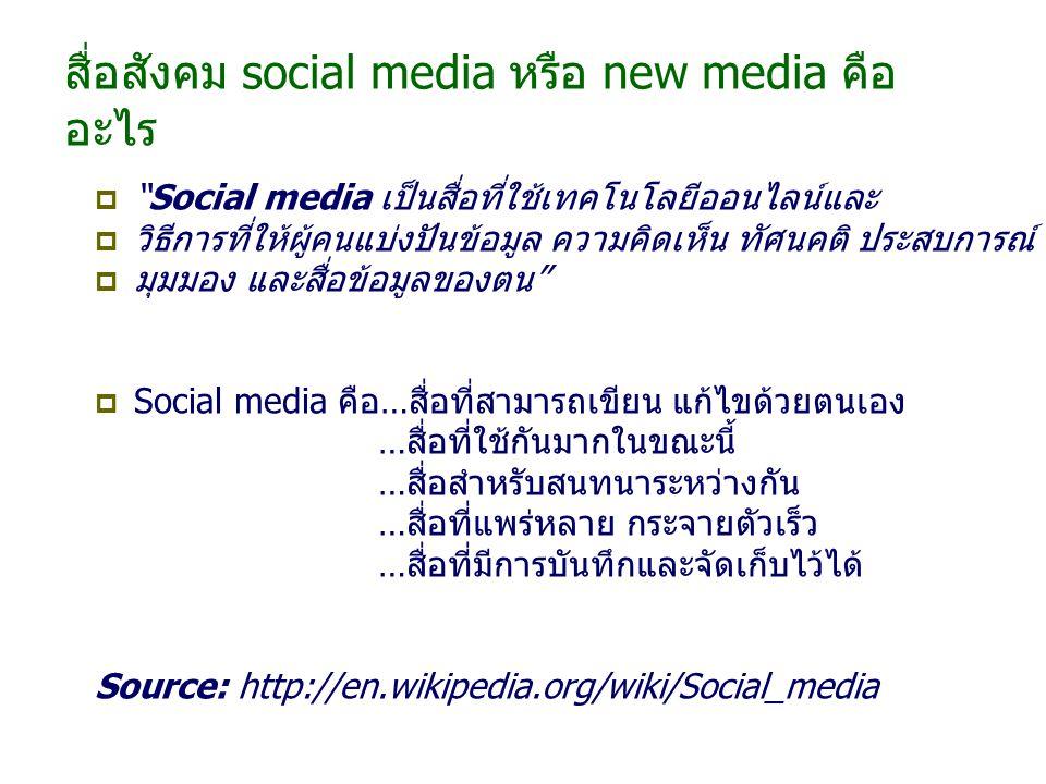 สื่อสังคม social media หรือ new media คืออะไร