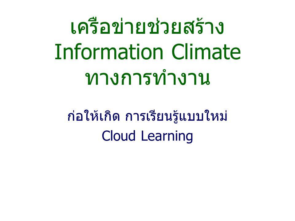 เครือข่ายช่วยสร้าง Information Climate ทางการทำงาน