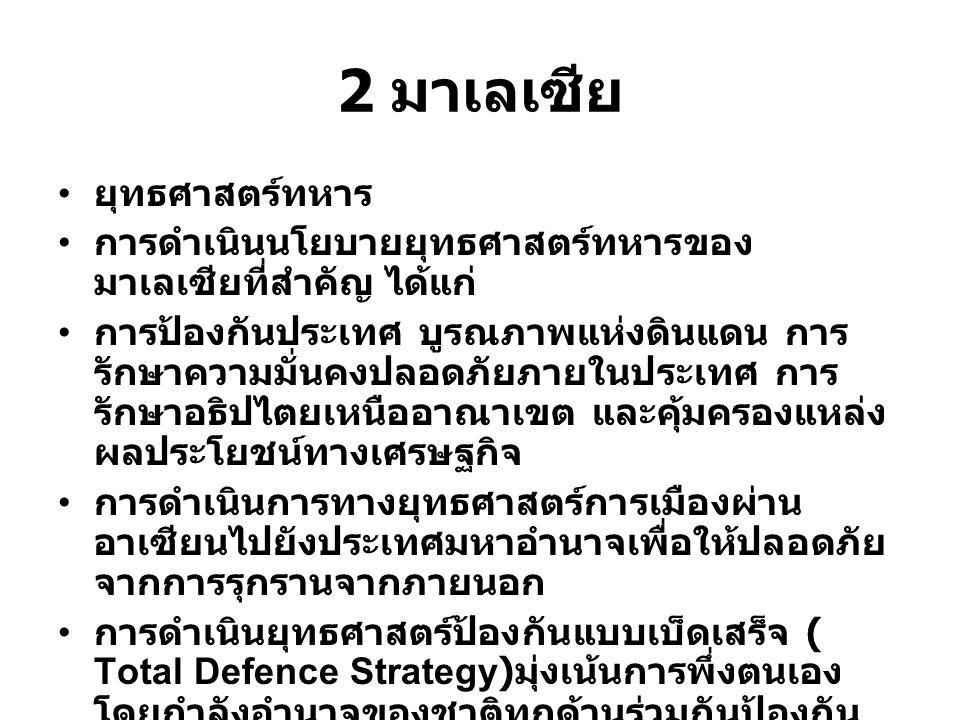 2 มาเลเซีย ยุทธศาสตร์ทหาร