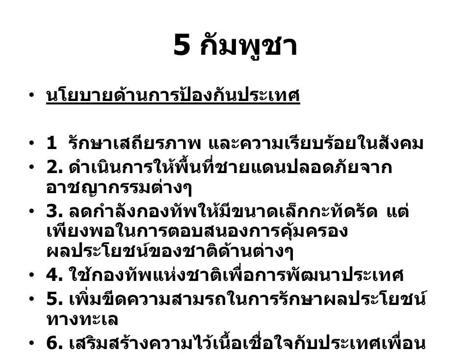 5 กัมพูชา นโยบายด้านการป้องกันประเทศ