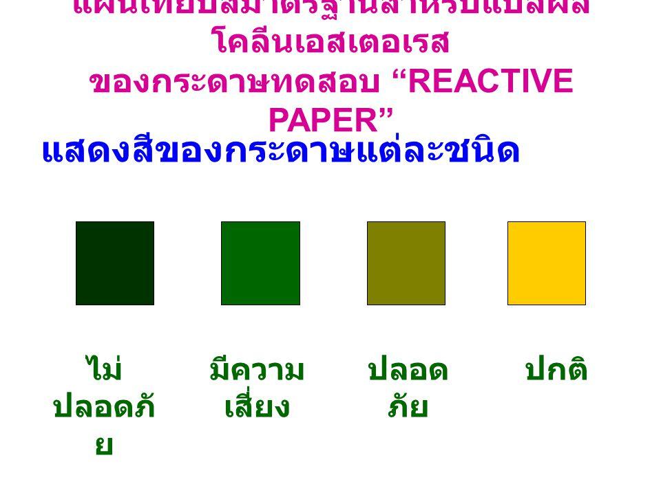 แสดงสีของกระดาษแต่ละชนิด