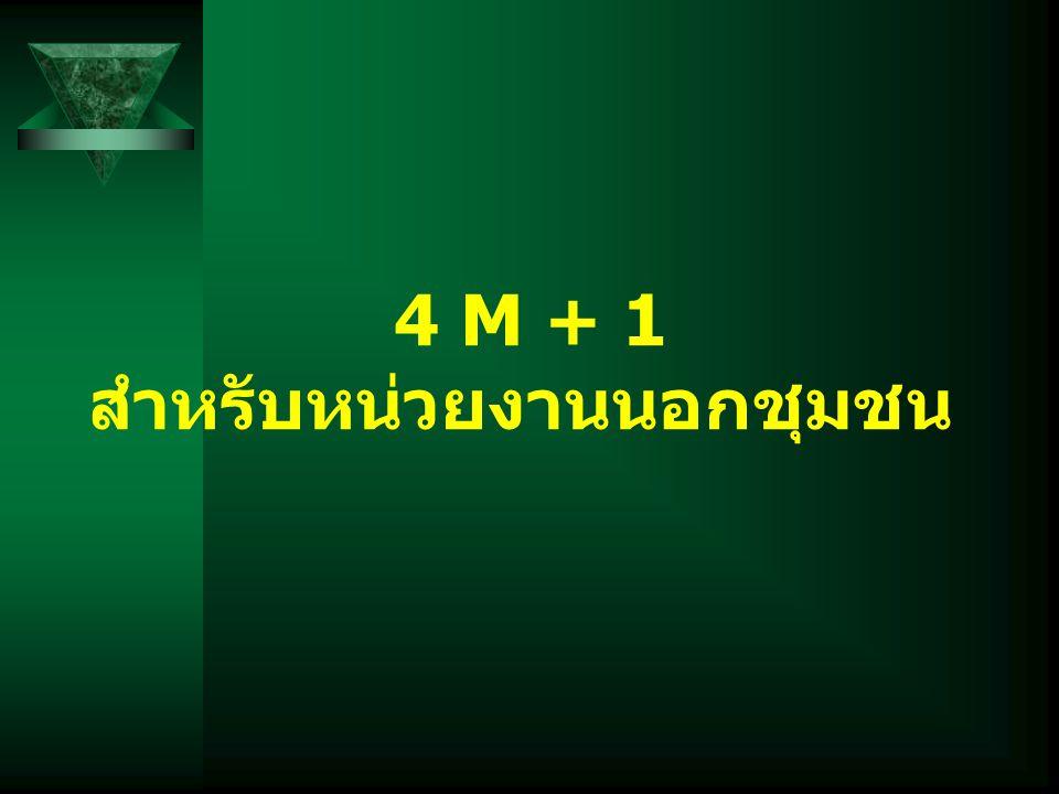 4 M + 1 สำหรับหน่วยงานนอกชุมชน