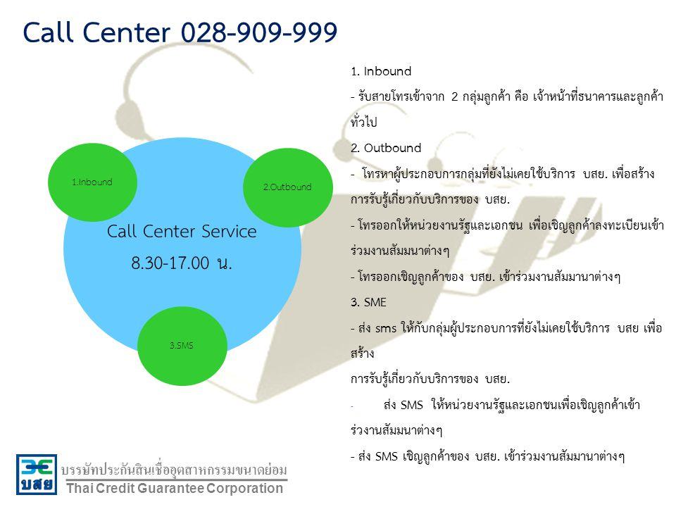 Call Center 028-909-999 Call Center Service 8.30-17.00 น. 1. Inbound