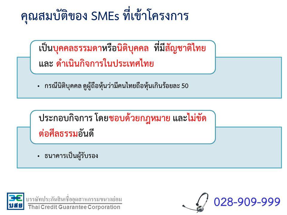 คุณสมบัติของ SMEs ที่เข้าโครงการ