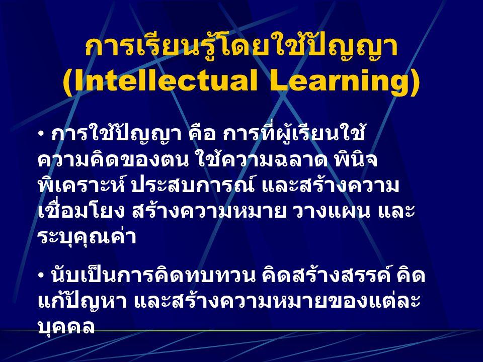 การเรียนรู้โดยใช้ปัญญา (Intellectual Learning)
