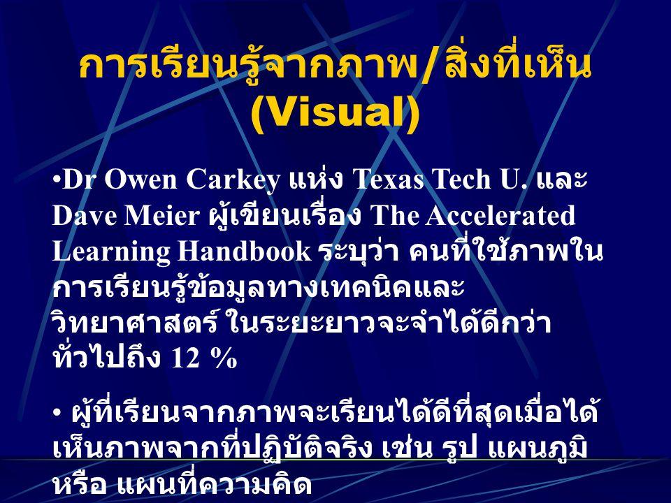 การเรียนรู้จากภาพ/สิ่งที่เห็น (Visual)