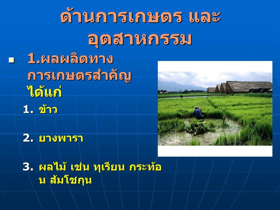 ด้านการเกษตร และอุตสาหกรรม