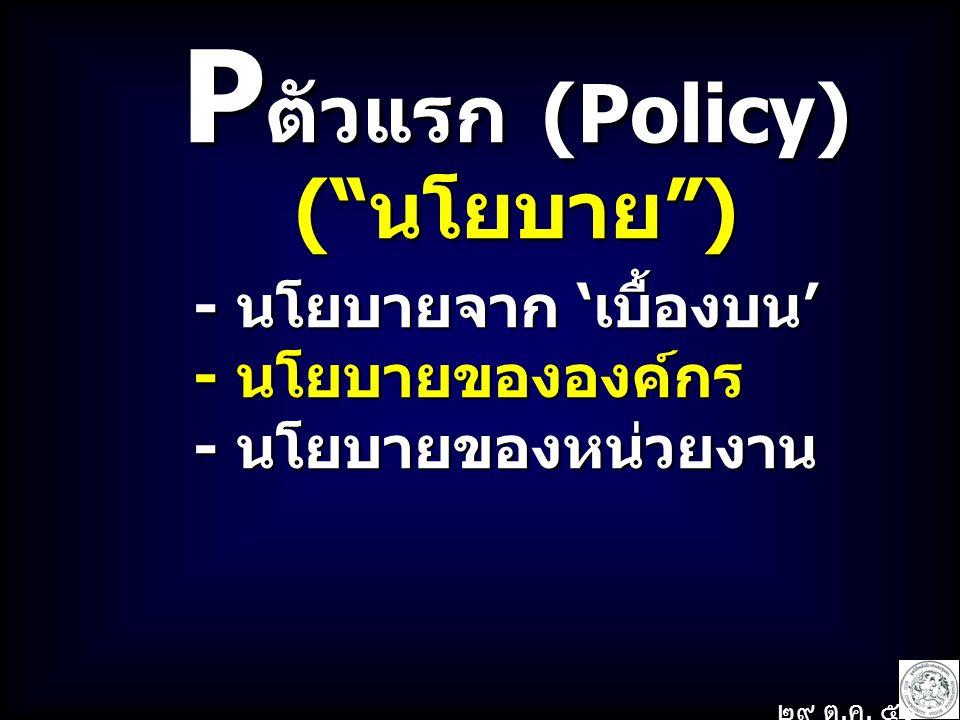 Pตัวแรก (Policy) ( นโยบาย ) - นโยบายจาก 'เบื้องบน' - นโยบายขององค์กร