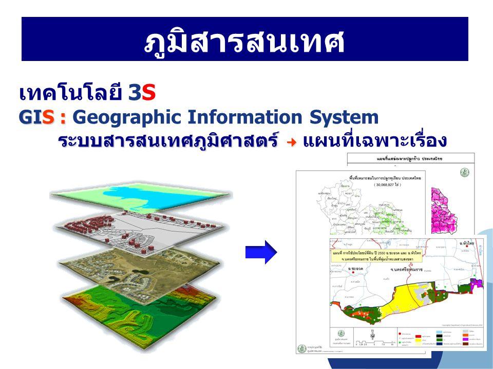 ภูมิสารสนเทศ เทคโนโลยี 3S GIS : Geographic Information System