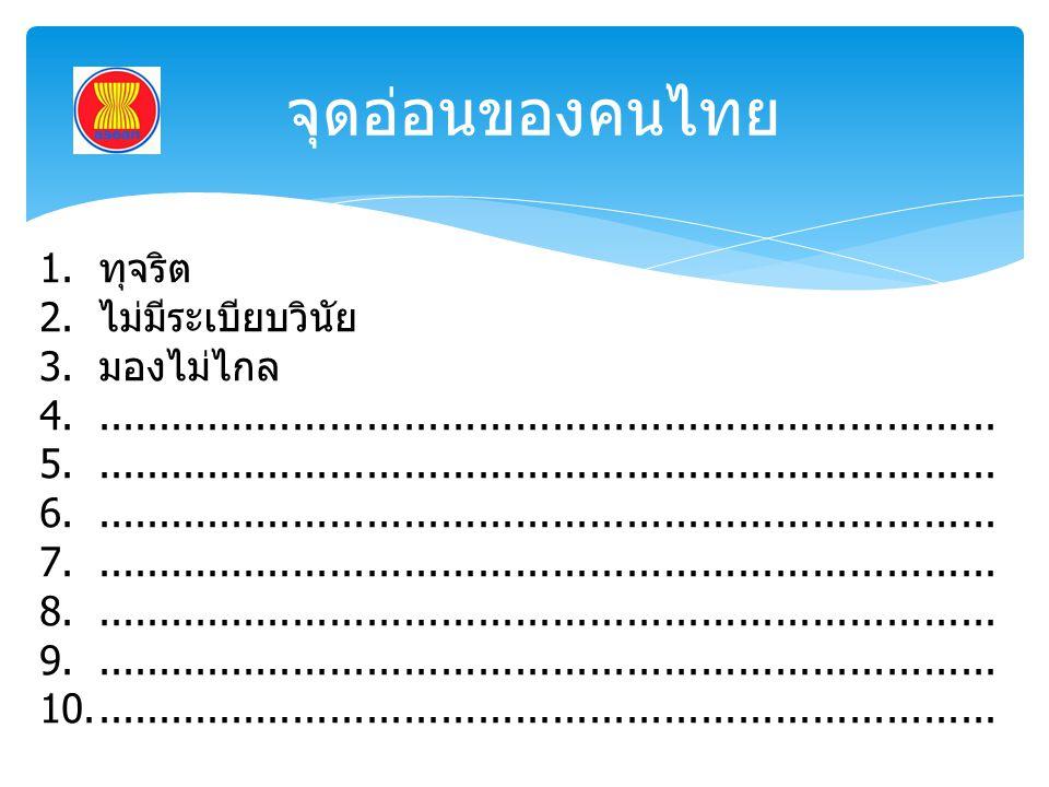 จุดอ่อนของคนไทย ทุจริต ไม่มีระเบียบวินัย มองไม่ไกล
