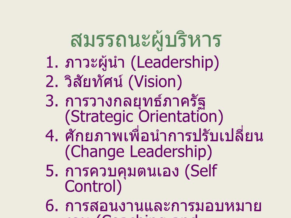 สมรรถนะผู้บริหาร ภาวะผู้นำ (Leadership) วิสัยทัศน์ (Vision)