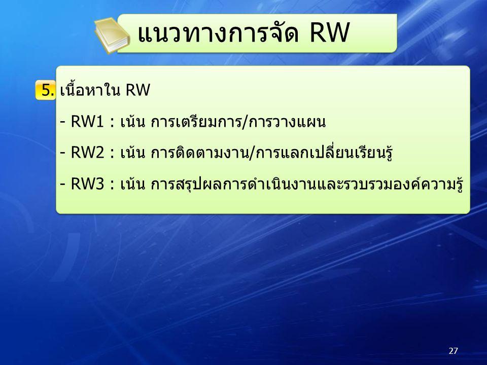 แนวทางการจัด RW 5. เนื้อหาใน RW - RW1 : เน้น การเตรียมการ/การวางแผน