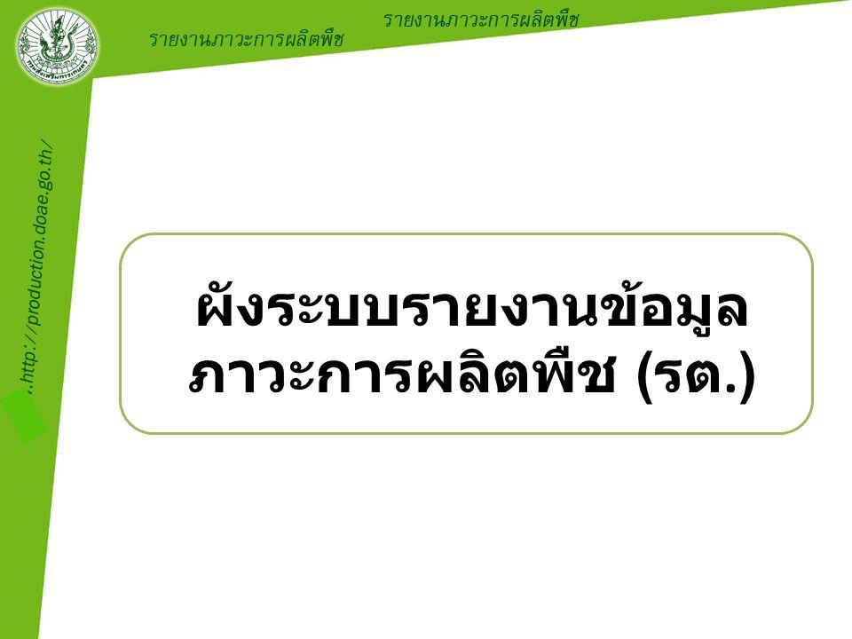 ผังระบบรายงานข้อมูล ภาวะการผลิตพืช (รต.)