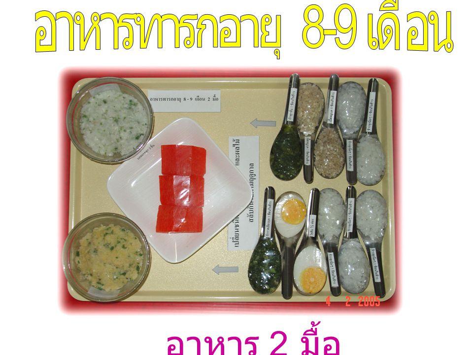 อาหารทารกอายุ 8-9 เดือน อาหาร 2 มื้อ